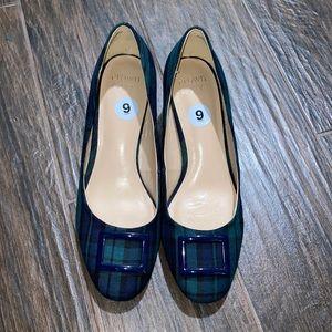 Crown Ivy plaid block round toe heel